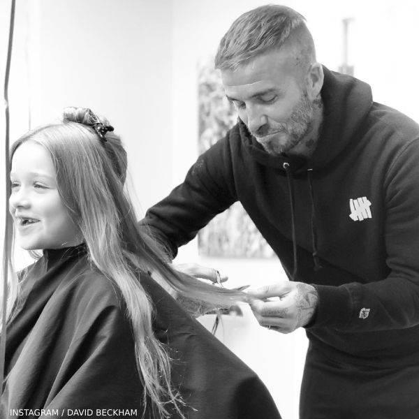 David Beckham Pouts Goodbye to Harper Beckham Long Hair Cut