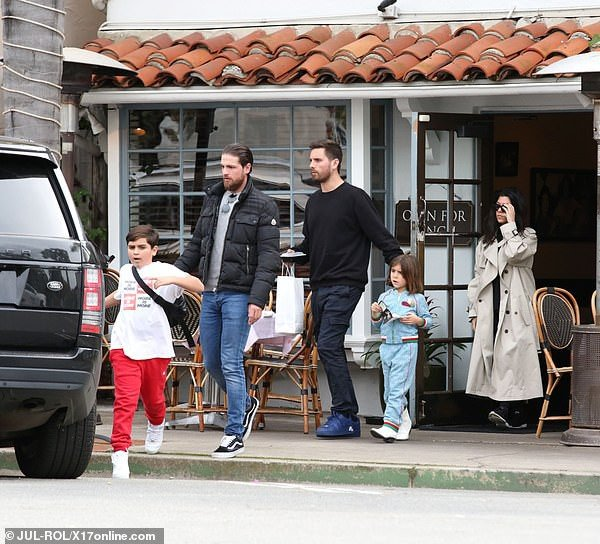 Penelope Scott Mason Disick Kourtney Kardashian GUCCI Blue Tracksuit Santa Barbara March 11 2019