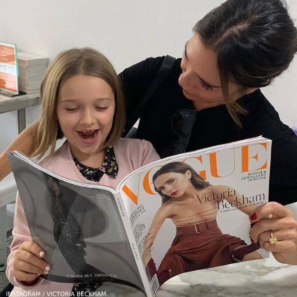 Harper & Victoria Beckham Reading Vogue Getting Manicure Sydney