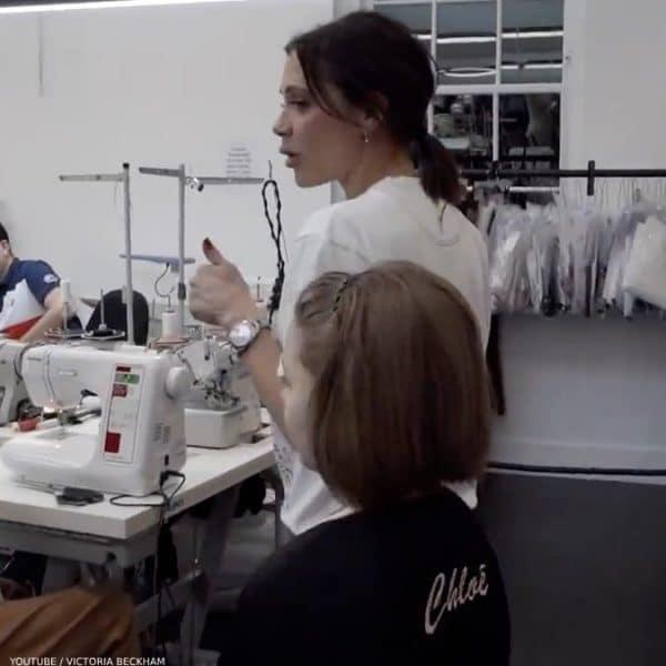 Victoria Harper Beckham Youtube Video at Work Chloe Mini Me Bomber Jacket