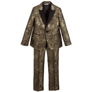 Dolce & Gabbana Boys Gold Jacquard Special Occasion Suit