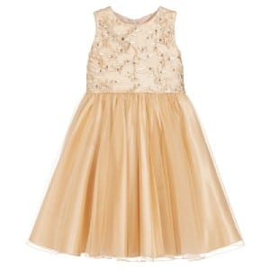 Dresses by Childrensalon Girls Gold Embroidered Tulle Dress