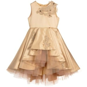 Le Mu Girls Gold Satin Dress