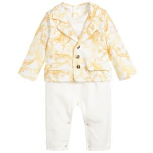 Young Versace Ivory Baroque Cotton Babygrow