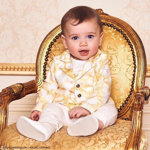 Young Versace Ivory Baroque Cotton Babygrow for EID