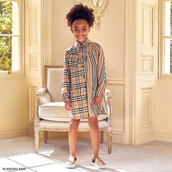 Burberry Girls Check Stripe Dress Check Shoes