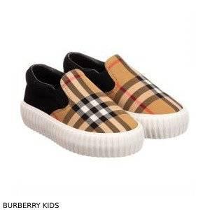 Burberry Kids Beige Canvas Check Shoes
