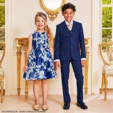 Childrensalon David Charles Blue Floral Satin Dress Romano Boys Royal Blue 3 Piece Suit