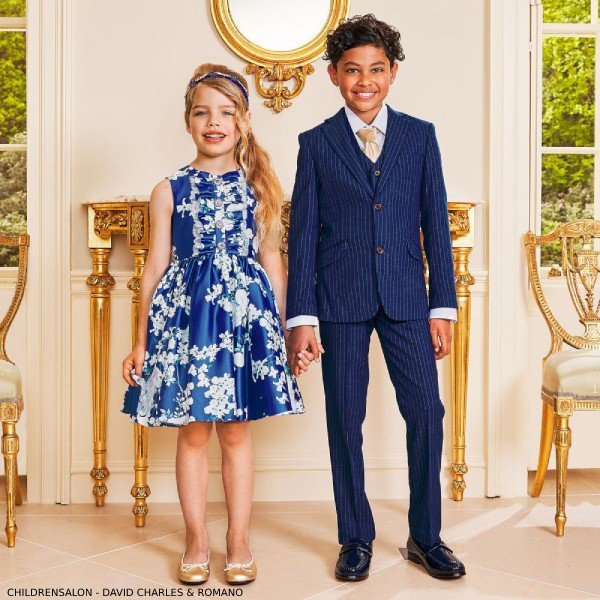 Childrensalon David Charles Blue Floral Satin Dress Romano Boys Royal Blue 3 Piece Suit