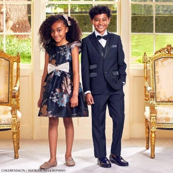 Childrensalon Hucklebones London Navy Blue Rose Gold Dress Romano Black 3 Piece Suit