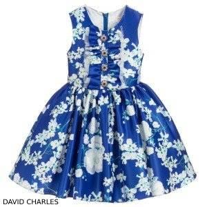 David Charles Blue Floral Satin Dress