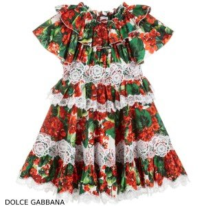 Dolce Gabbana Red Geranium Cotton Dress