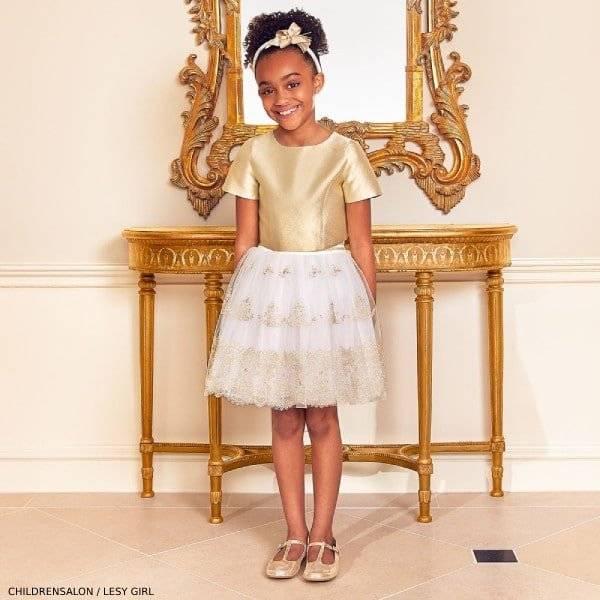 Lesy Girls Gold & Ivory Skirt Set