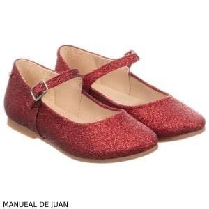 Manuela de Juan Girls Red Glitter Leather Shoes