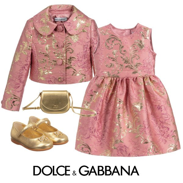 Dolce Gabbana Girl Mini Me Pink Gold Brocade Party Dress SS20