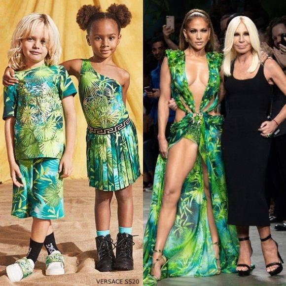 Jennifer Lopez Young Versace Mini Me Green Jungle Print Trend Spring 2020