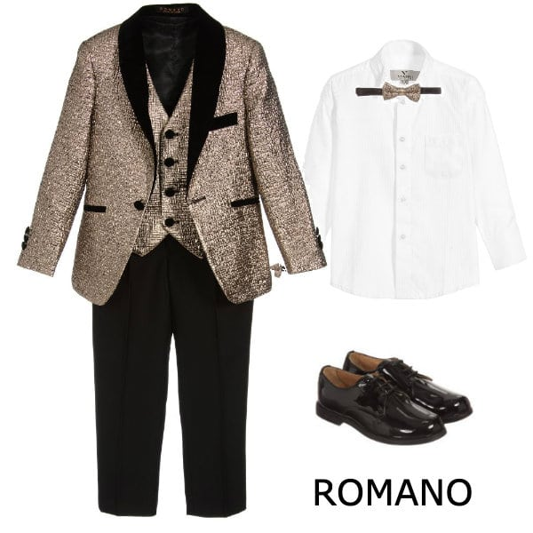 Romano Boys Gold & Black 4 Piece Special Occasion Suit