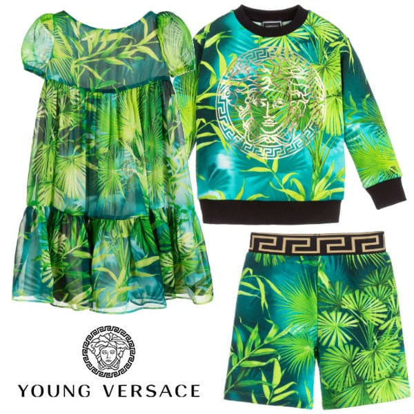 Young Versace Girl Mini-Me Green Jungle Print Silk Dress ss20
