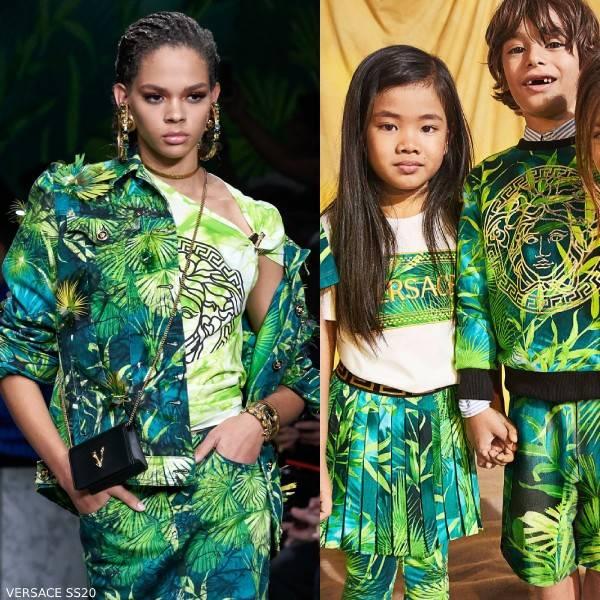 Young Versace Kids Mini Me Green Jungle Print Sweatshirt Short