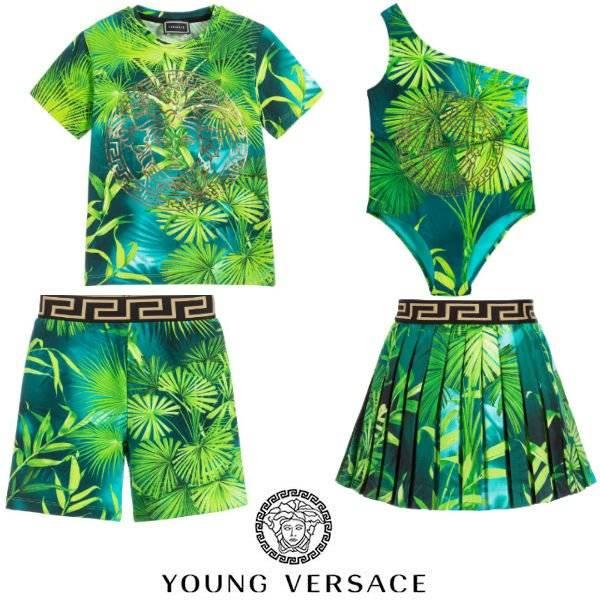 Young Versace Kids Mini Me Green Jungle Print Sweatshirt Shorts