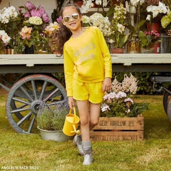 Comfy Kids Style Angels Face Girls Yellow Sweatshirt