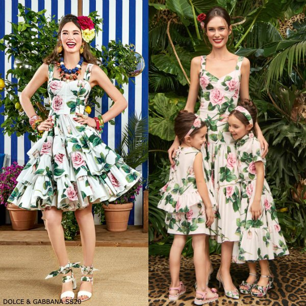 Dolce & Gabbana Girl Mini Me White & Pink Tropical Rose Print Dress