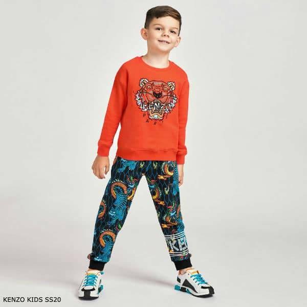 Kenzo Kids Boys Orange Tiger Sweatshirt Black Dragon Print Joggers