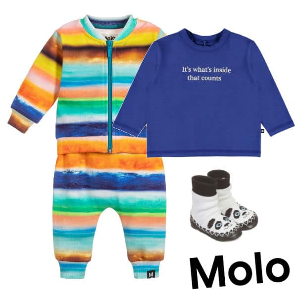 Molo Baby Boys Colourful Sunset Striped Tracksuit Blue It's what's inside that counts Shirt