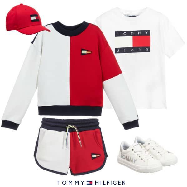 Tommy Hilfiger Kids Girls Red, White & Blue Sweatshirt Shorts Summer 2020