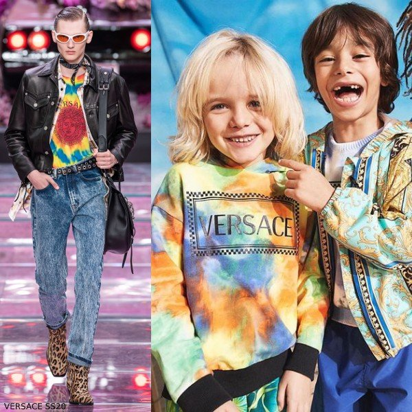 Young Versace Boys Mini Me Tie Dye 90s Vintage Logo Sweatshirt