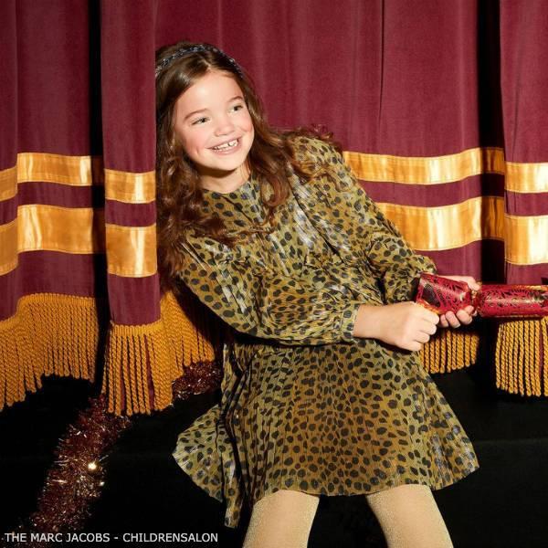 Marc Jacobs Girls Gold Black Dot Leopard Print Chiffon Party Dress